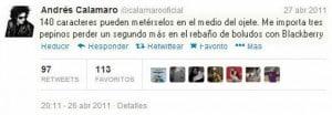 Twitter oficial de Andrés Calamaro