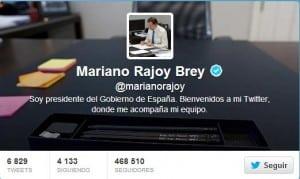 Twitter oficial del Presidente del Gobierno, Mariano Rajoy