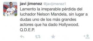 Javi Jiménez tuiteando sobre la muerte de Mandela