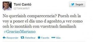 Toni Cantó metiéndose con Rajoy en Twitter
