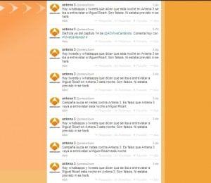 Twitter de Antena 3 sobre la entrevista a Miguel Ricart