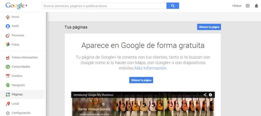 Como crear páginas de empresa en Google+