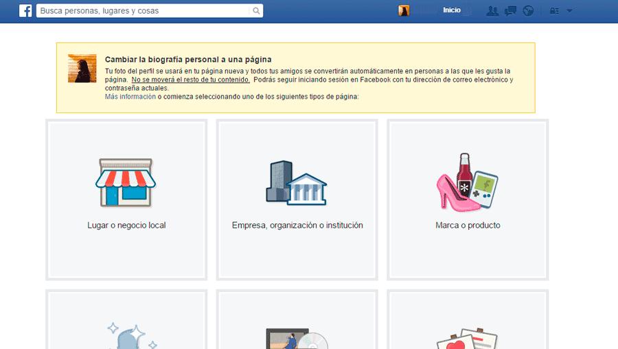 Imagen de Convertir perfil personal de Facebook en Fanpage