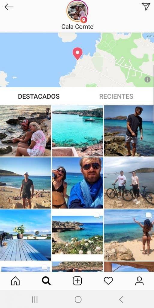 Selección de la localización del destino en Instagram